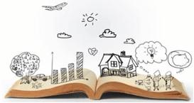 Opgeslagen boek met plaatjes erboven. Lezen en schrijven is voor beelddenkers moeilijker, omdat zij in beelden denken.